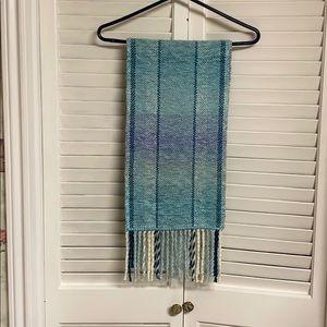 Aqua teal handwoven scarf